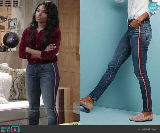 Mother The Looker High-Rise Striped Skinny Jeans worn by Ana Hamilton (Loren Lott) on The Young & the Restless
