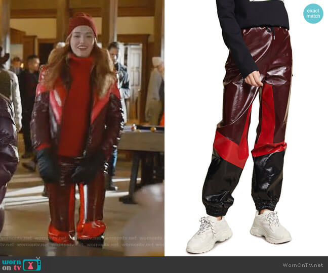 Faux Leather Track Pants by MSGM worn by Kirby Anders (Maddison Brown) on Dynasty