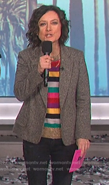 Sara's multicolored stripe sweater on The Talk