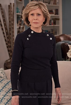Grace's navy button embellished sweater on Grace and Frankie