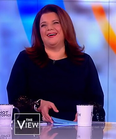 Ana's navy lace cuff top on The View