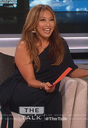 Carrie's navy one shoulder draped jumpsuit on The Talk