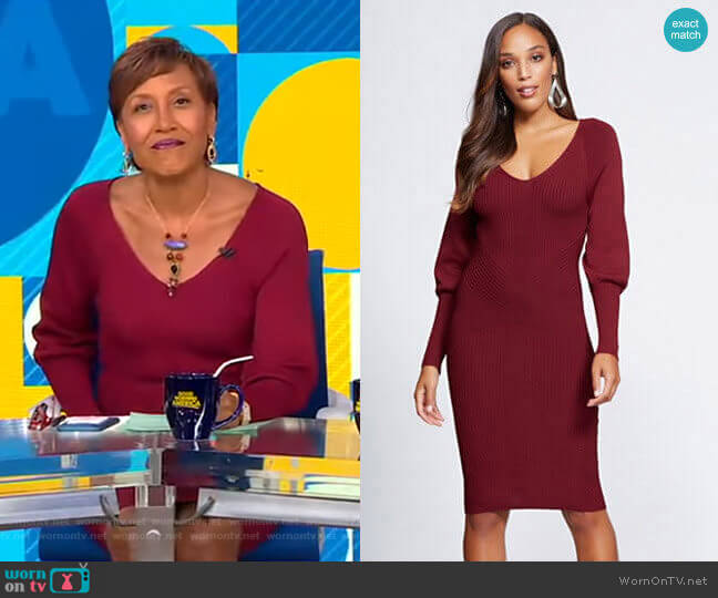 V-Neck Sweater Dress - Gabrielle Union Collection by New York & Company worn by Robin Roberts  on Good Morning America