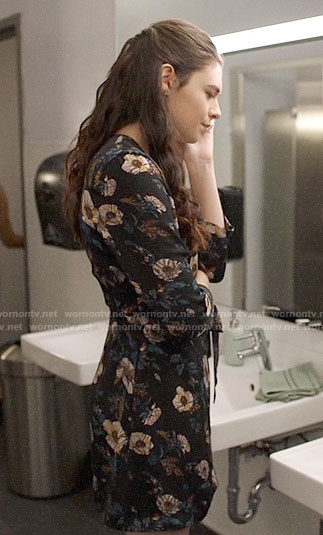 Nia's floral wrap dress on Supergirl