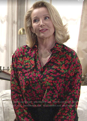 Nikki's floral button down blouse on The Young and the Restless