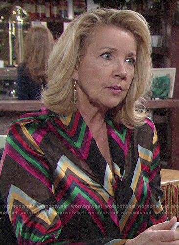 Nikki's rainbow chevron striped blouse on The Young and the Restless