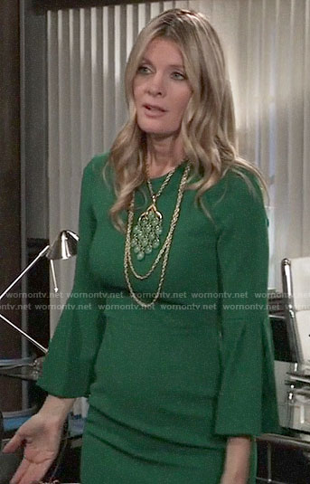 Nina's green bell-sleeve dress on General Hospital