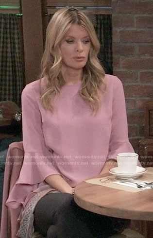 Nina's pink bell-sleeve blouse on General Hospital