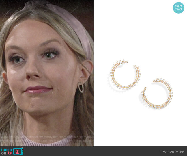 Nordstrom Pavé Open Starburst Hoop Earrings worn by Abby Newman (Melissa Ordway) on The Young & the Restless