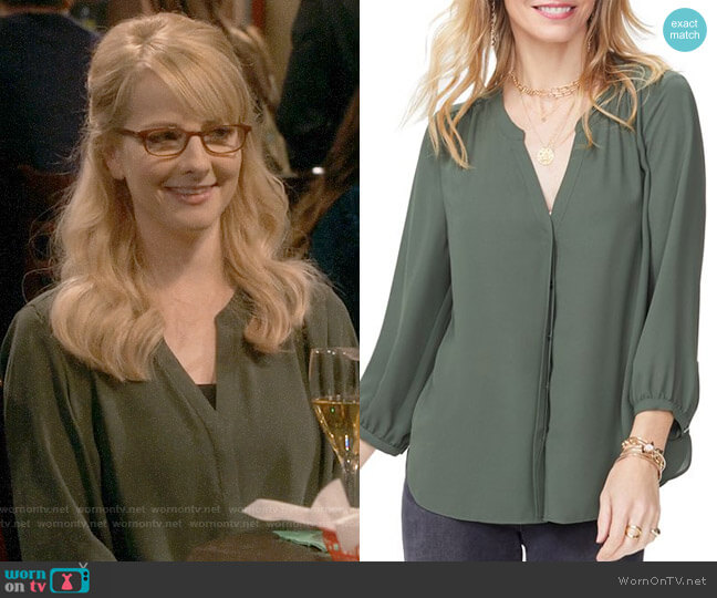 NYDJ Pintuck-Back Blouse in Sugar Pine worn by Melissa Rauch on The Big Bang Theory