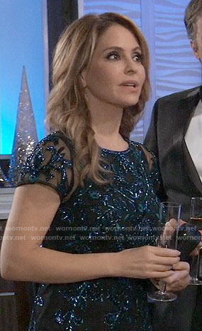 Olivia's blue embellished NYE dress on General Hospital