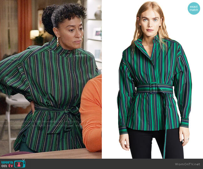 Opening Ceremony Stripe Belted Long Sleeve Top worn by Rainbow Johnson (Tracee Ellis Ross) on Blackish