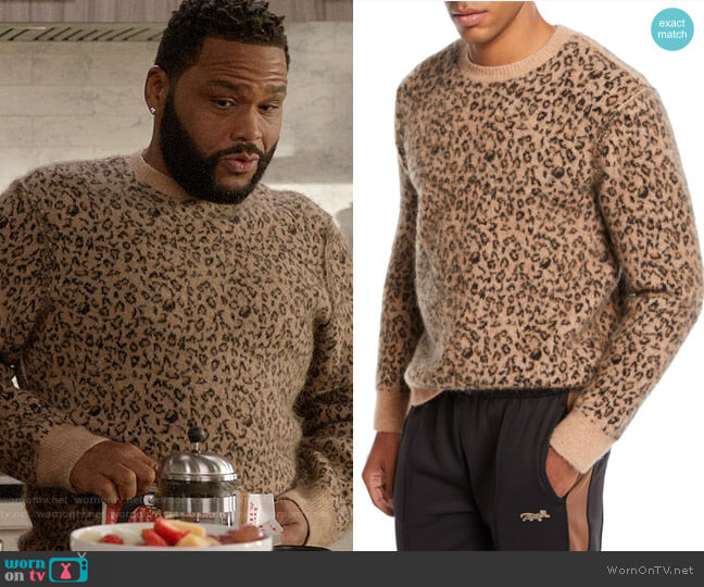 Ovadia & Sons Leopard Pattern Jacquard Crewneck Sweater worn by Andre Johnson (Anthony Anderson) on Blackish
