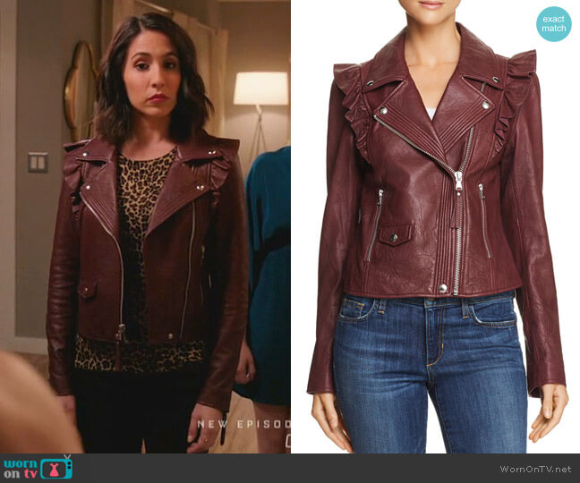 Annika Leather Jacket by Paige worn by Gabrielle Ruiz on Crazy Ex-Girlfriend