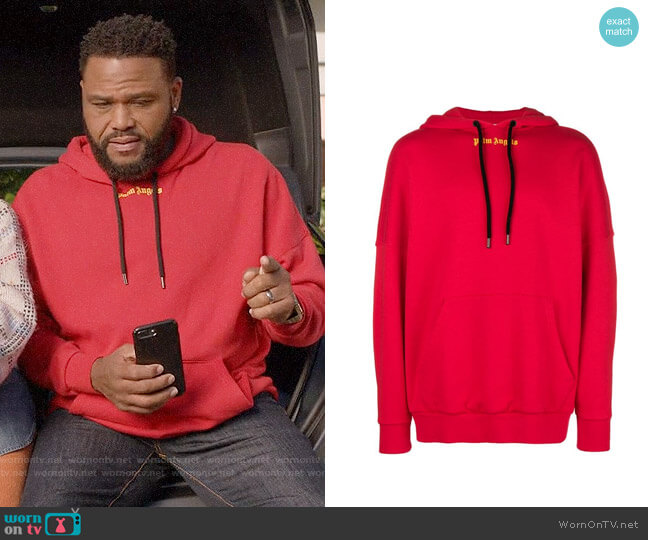 Palm Angels Contrast Logo Hoodie worn by Andre Johnson (Anthony Anderson) on Blackish