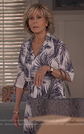 Grace's white palm leaf print jumpsuit on Grace and Frankie