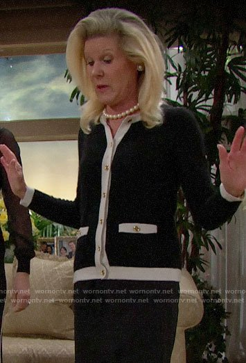 Pam's black and white cardigan on The Bold and the Beautiful