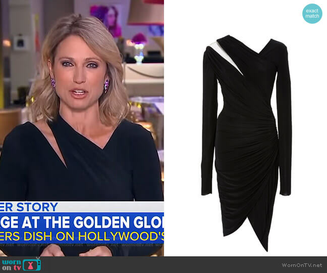 Jersey Long Sleeve Draped Dress by Pamella Roland worn by Amy Robach  on Good Morning America