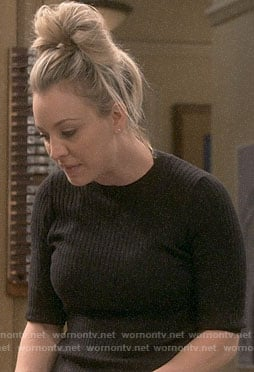 Penny's black ribbed top on The Big Bang Theory