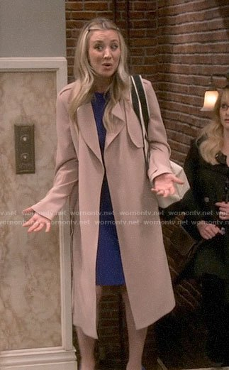 Penny's long beige coat on The Big Bang Theory