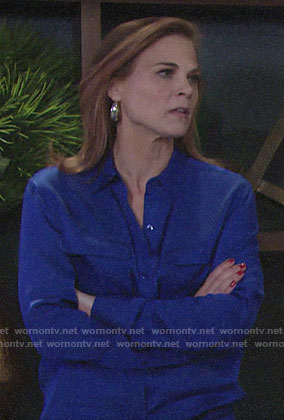Phyllis's cobalt blue button down blouse on The Young and the Restless
