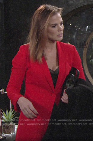 Phyllis's red pant suit on The Young and the Restless