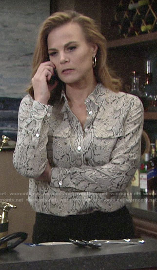 Phyllis's snake print blouse on The Young and the Restless