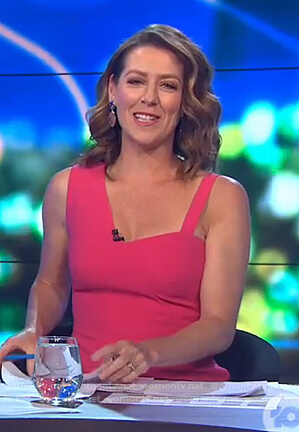 Gorgi's pink asymmetric strap dress on The Project