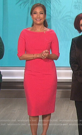 Carrie's pink sheath dress on The Talk