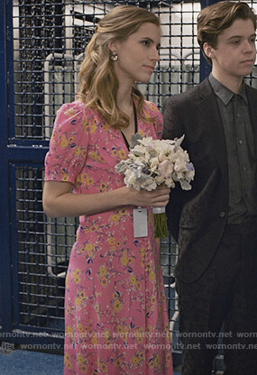 Steveie's pink floral v-neck dress on Madam Secretary