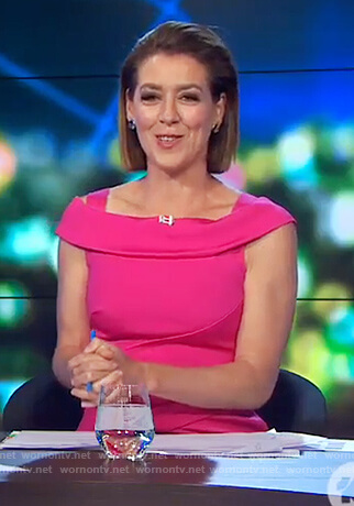 Gorgi's pink cold shoulder dress on The Project