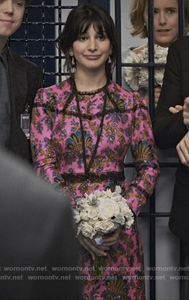Ali's pink floral dress with lace insets on Madam Secretary