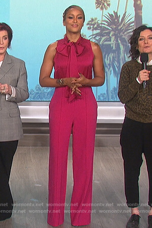 Eve's pink sleeveless tie neck jumpsuit on The Talk