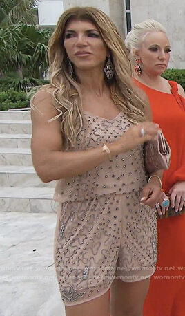 Teresa's pink jewell embellished romper on The Real Housewives of New Jersey