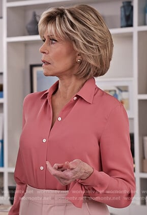 Grace's pink tie cuff blouse on Grace and Frankie