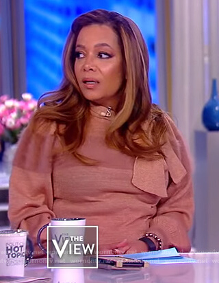 Sunny's pink tie neck sweater on The View