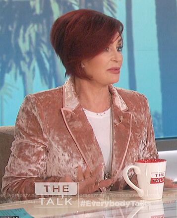 Sharon's pink velvet blazer on The Talk