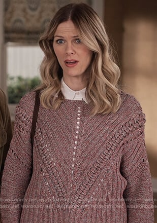 Mallory's purple eyelet trim sweater on Grace and Frankie