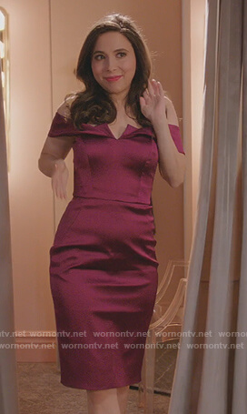 Maya's purple satin off shoulder dress on Crazy Ex Girlfriend