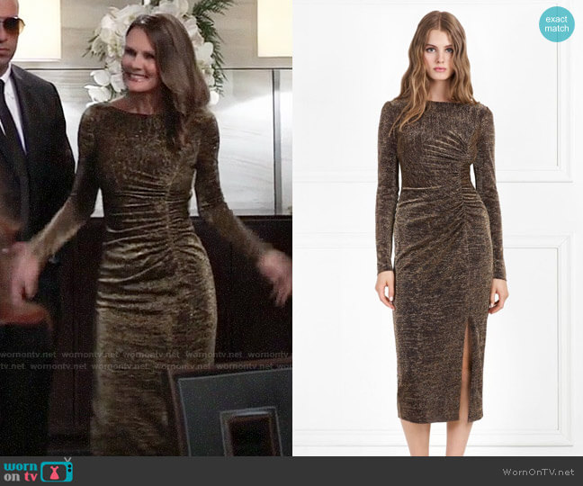 Rachel Zoe Lovey Metallic Jersey Midi Dress worn by Lucy Coe (Lynn Herring) on General Hospital