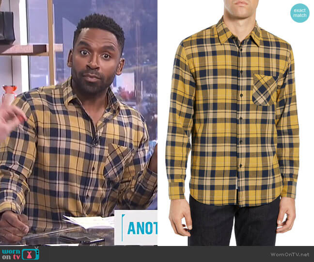 Fit 3 Plaid Beach Shirt by Rag & Bone worn by Justin Sylvester on E! News