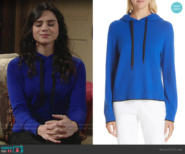 Rag & Bone Yorke Cashmere Hoodie worn by Lola Rosales (Sasha Calle) on The Young & the Restless