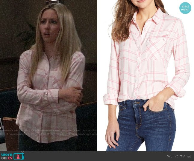 Rails Hunter Shirt in Love worn by Josslyn Jacks (Eden McCoy) on General Hospital