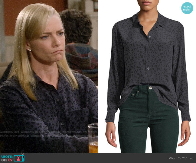 Rails Kate Leopard Silk Shirt worn by Jill Kendall (Jaime Pressly) on Mom