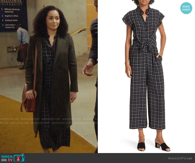 Rebecca Taylor Plaid Silk Jumpsuit worn by Macy Vaughn (Madeleine Mantock) on Charmed