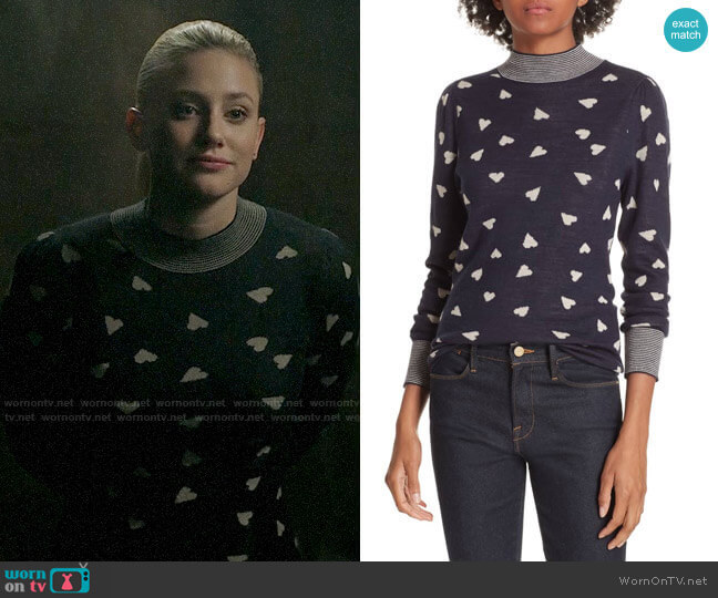 Rebecca Taylor Heart Jacquard Sweater worn by Betty Cooper (Lili Reinhart) on Riverdale