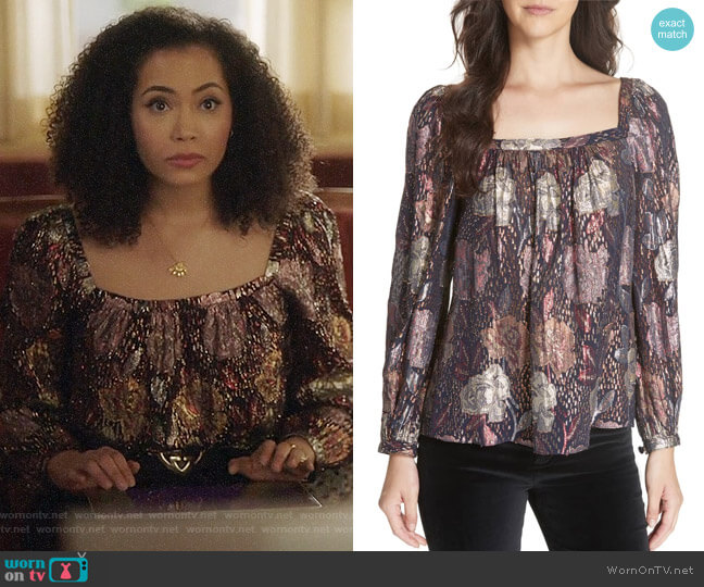 Rebecca Taylor Rose Clip Blouse worn by Macy Vaughn (Madeleine Mantock) on Charmed