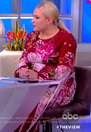 Meghan's red floral print dress on The View