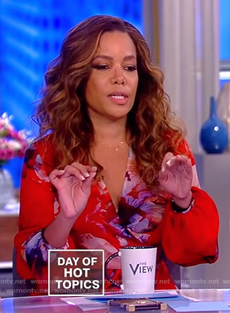 Sunny's red floral wrap dress on The View