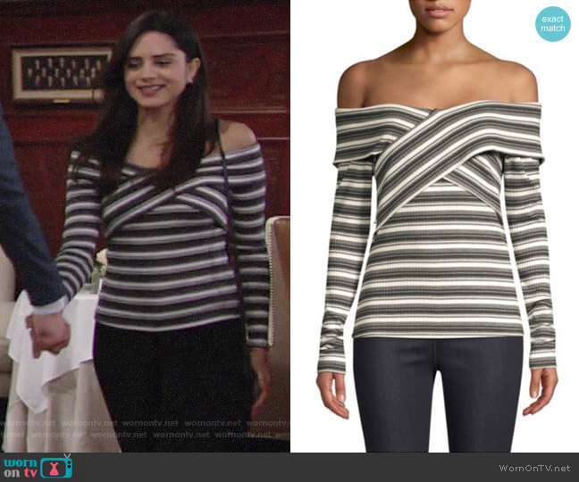 Red Haute Off-The-Shoulder Crossover Top worn by Lola Rosales (Sasha Calle) on The Young & the Restless